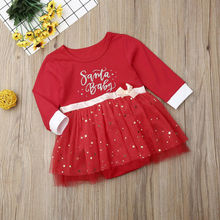 Baby Girl Red Dress Long Sleeve Bow Xmas Costumes