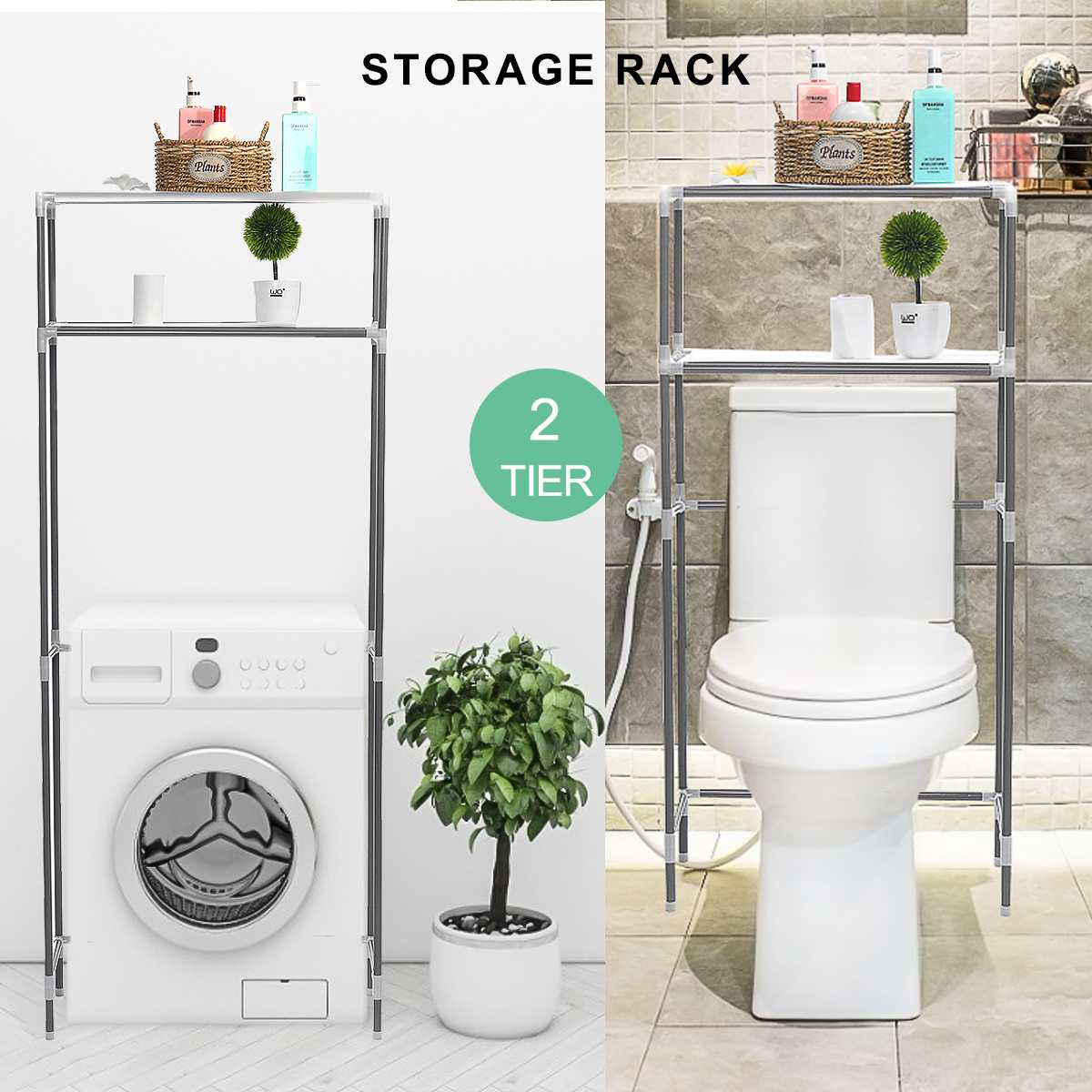 US $18.35 46% OFF|Over The Rack Stainless Steel Toilet Cabinet Shelving  Kitchen Washing Machine Rack Bathroom Space Saver Shelf Organizer Holder on  ...