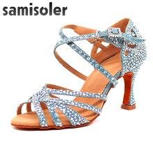 Samisoler dress shoes woman Shoes Satin Shining rhinestones Soft Bottom Latin Dance Woman Salsa sneakers women