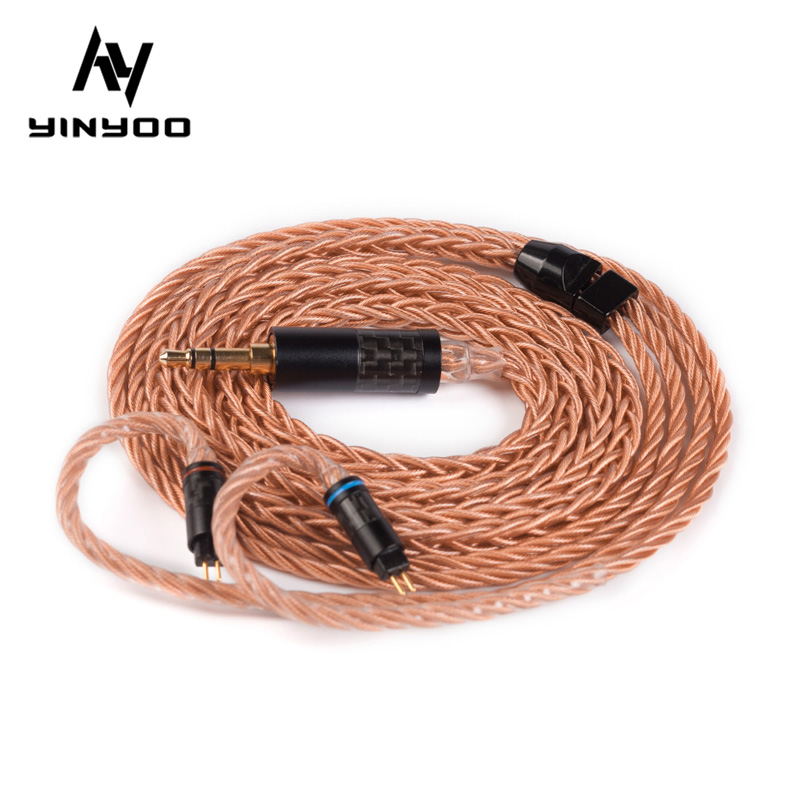 Yinyoo 8 Core Upgraded High-end Single Crystal Copper Cable 2.5/3.5/4.4MM With MMCX/2PIN Connector For KZ ZS10 AS10 BLON BL-03 image