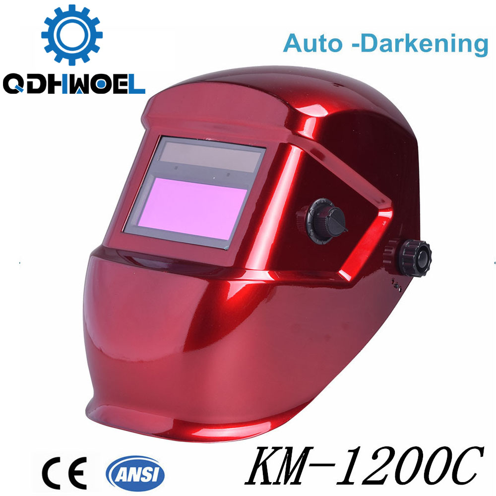 Careta casco de soldadura Darken color rojo modelo KM-1200C
