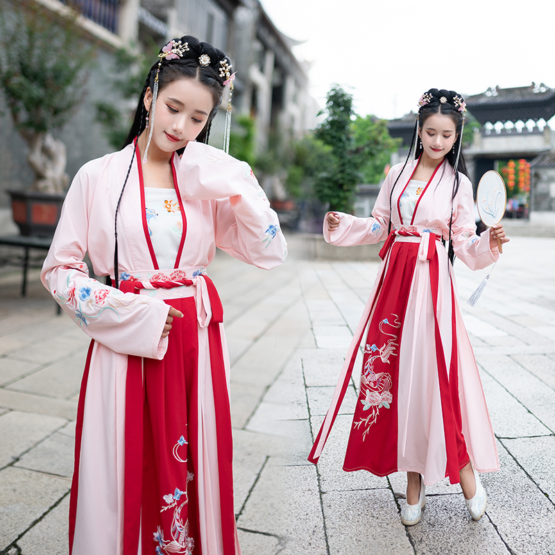Chinese Style Hanfu For Women Traditional Ancient Tang Suit China Classical Dance Performance Stage Costumes Red Hanfu DQL2605