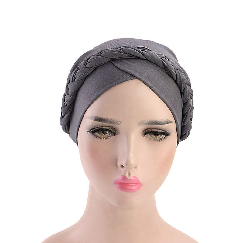 H3e32adb619694a4b8e80e78acc9cde171 - NEW arrival Retro Women Braid India caps Muslim Cancer Chemo full cover-up  Beanie Hair Loss Turban femme Wrap