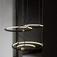 Postmodern Designer Round Ring Star Band LED Pendant Lights Lighting Nordic Loft Art Restaurant Deco Pendant Lamp Light Fixtures