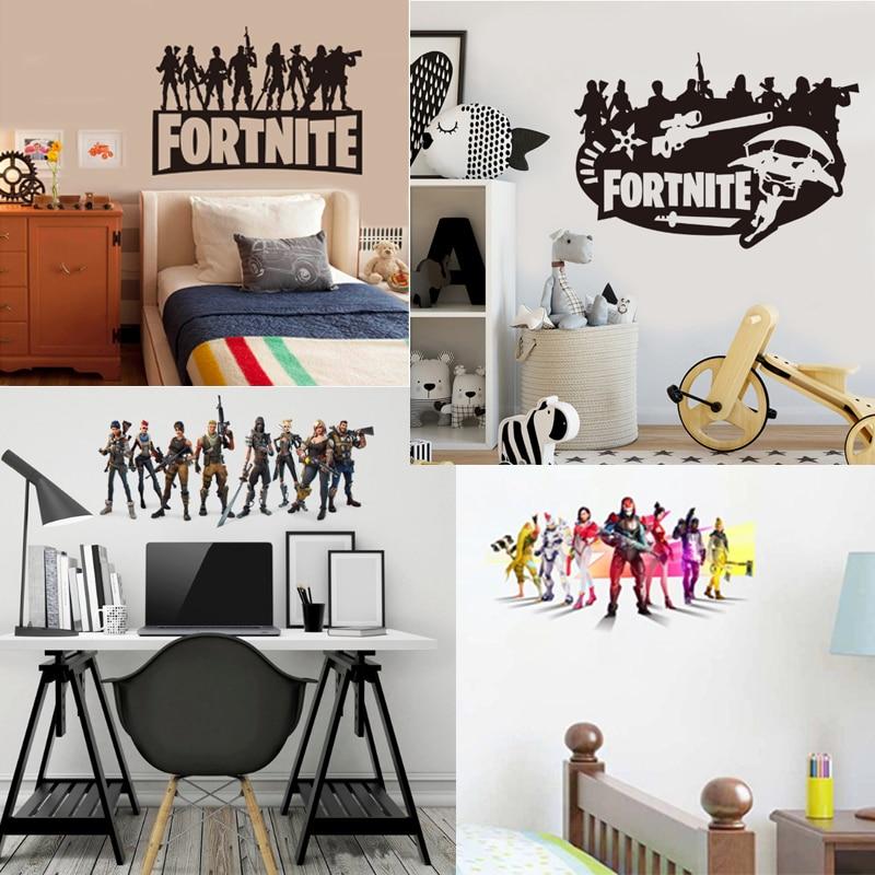 Настенные наклейки в стиле игры «Fortnites», Мультяшные наклейки с изображением крепости, ночи, наклейки для детской комнаты, спальни, гостиной, ...