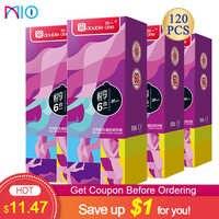 Condones Mio 100 Uds para hombres, hilo de puntos lubricado en espiral, divertido condón de látex natural, productos sexuales Shop