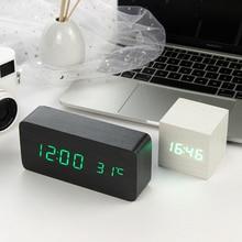 Led Houten Wekker Horloge Tafel Voice Control Digitale Hout Despertador Elektronische Desktop Usb/Aaa Aangedreven Klokken Tafel Decor