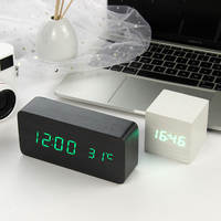 LED Wooden Alarm Clock Watch Table Voice Control Digital Wood Despertador Electronic