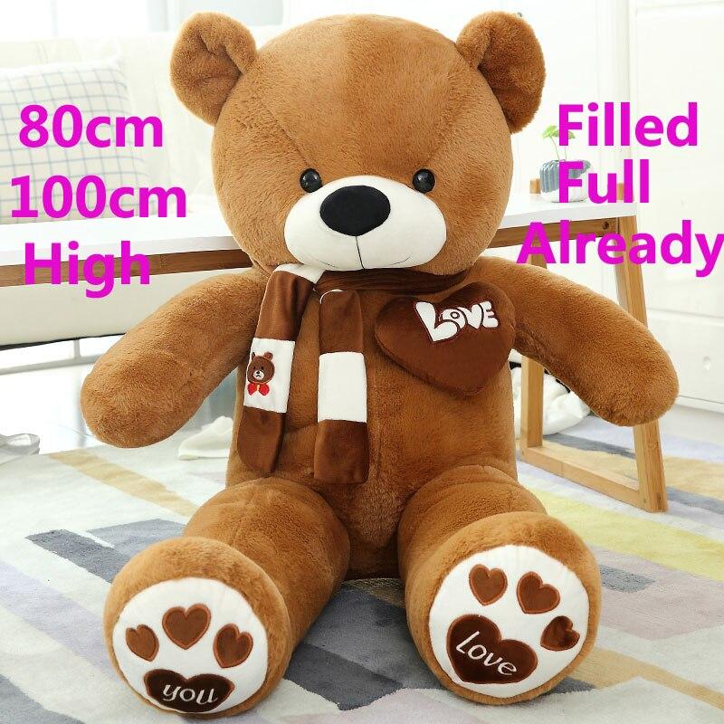 80-100cm 1m Giant filled Big teddy bears Stuffed Animals toys pink party children birthday gift soft Pillow Dolls plush teddies