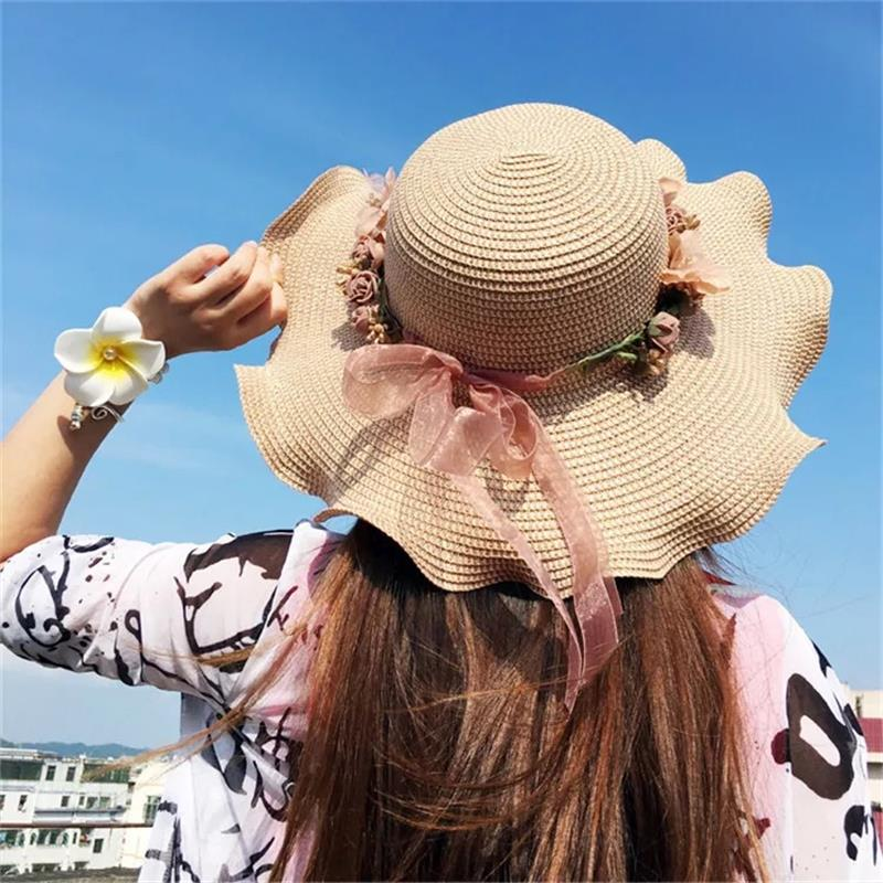 Summer Large Brim Straw Hat Women Beach Sun Hat Wreath Bucket Cap Lace Bowknot Flowers Ribbon Flat Top Beach Caps Panama H019
