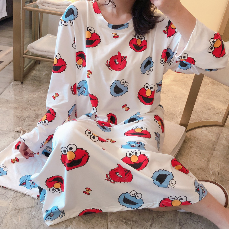 Nightgown Women's Spring And Autumn Long Sleeve Korean-style Fresh Students Cute Sesame Street Pajamas Sweet Loose-Fit Pregnant