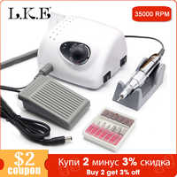 LKE 35000RPM Nail Drills Strong 210A Manicure Machine Pedicure Kit Electric Strong Nails Art Tool Model Handpiece Nail File Bit