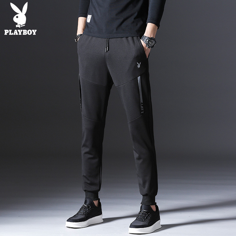 PLAYBOY Casual Pants Men's Spring Summer Thin Section Skinny Pants Men's Trousers Straight Slim Korean-style