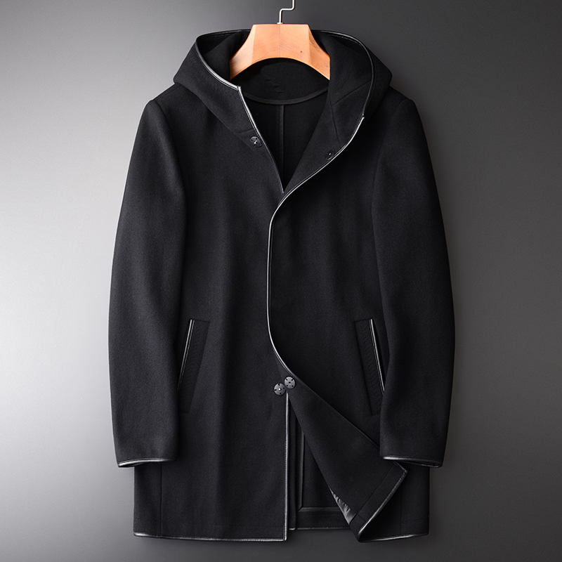 Medium-length Men Wool Trench Autumn Winter Hooded Mens Jackets And Coats Luxury Black Slim Fit Brand Man Clothes 4XL