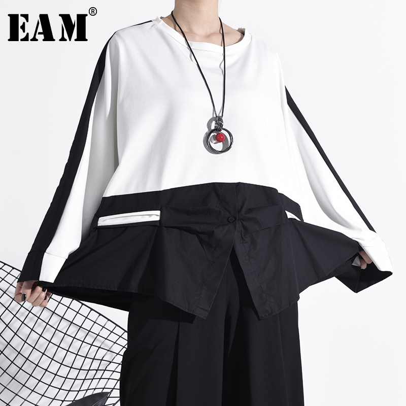 [EAM] Women Contrast Color Split Big Size Loose T-shirt New Round Neck Long Sleeve  Fashion Tide  Spring Autumn 2020 1N19100