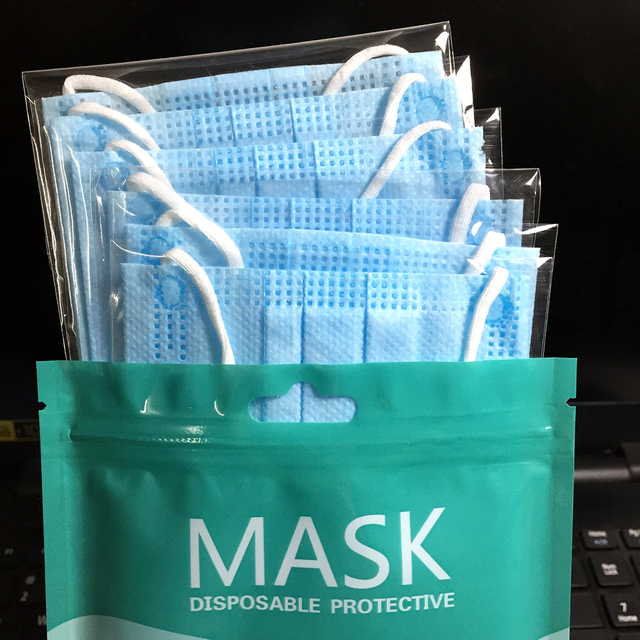 10pcs/bag High Grade Filter Disposable Face Mask 3 ply Protective Masks Dust PM 2.5 Hygiene mouth Mask 4