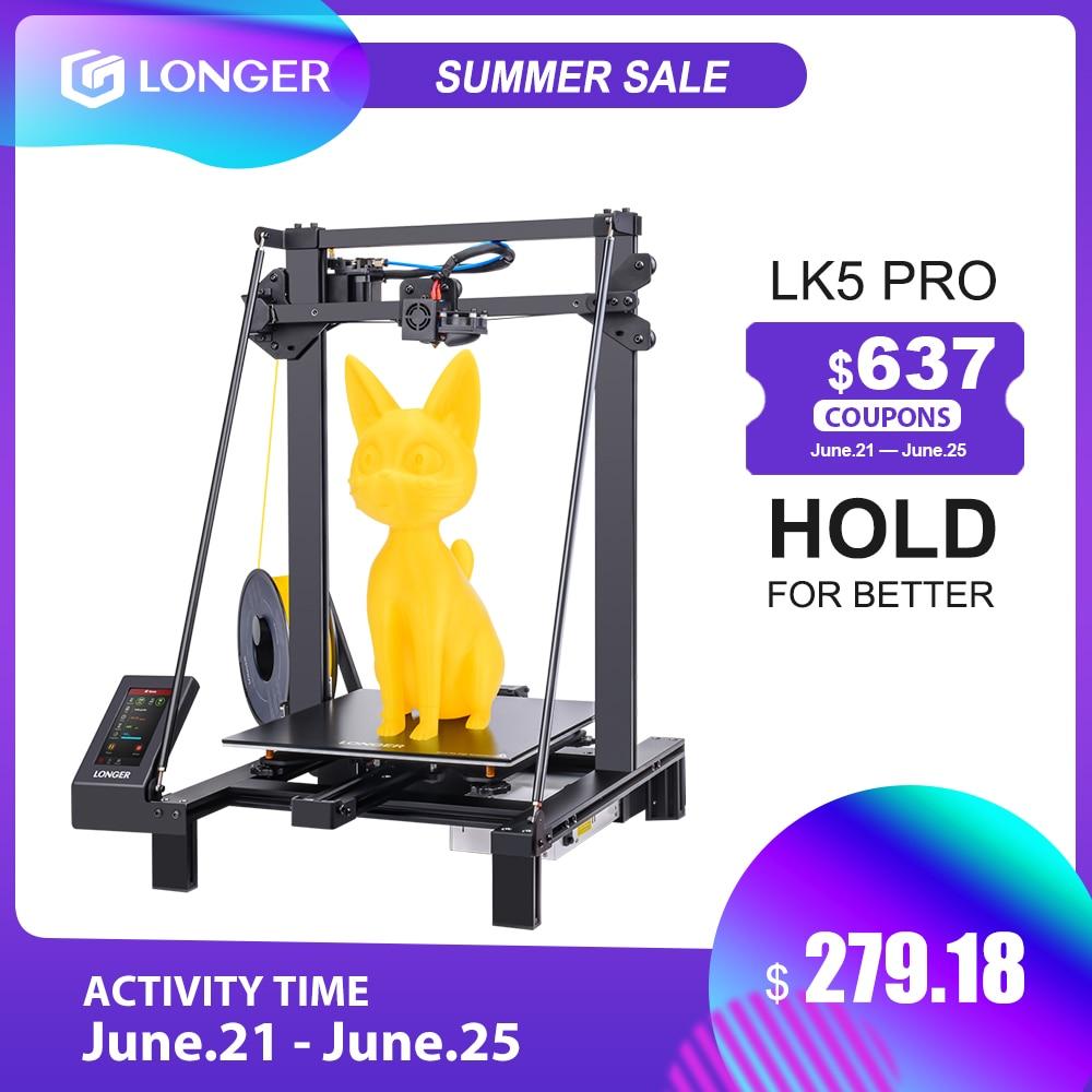 3D-принтер LONGER LK5 Pro FDM, размер 300*300*400 мм, с открытым исходным кодом, Полноцветный Сенсорный экран 4,3 дюйма, большой размер, высокая точность