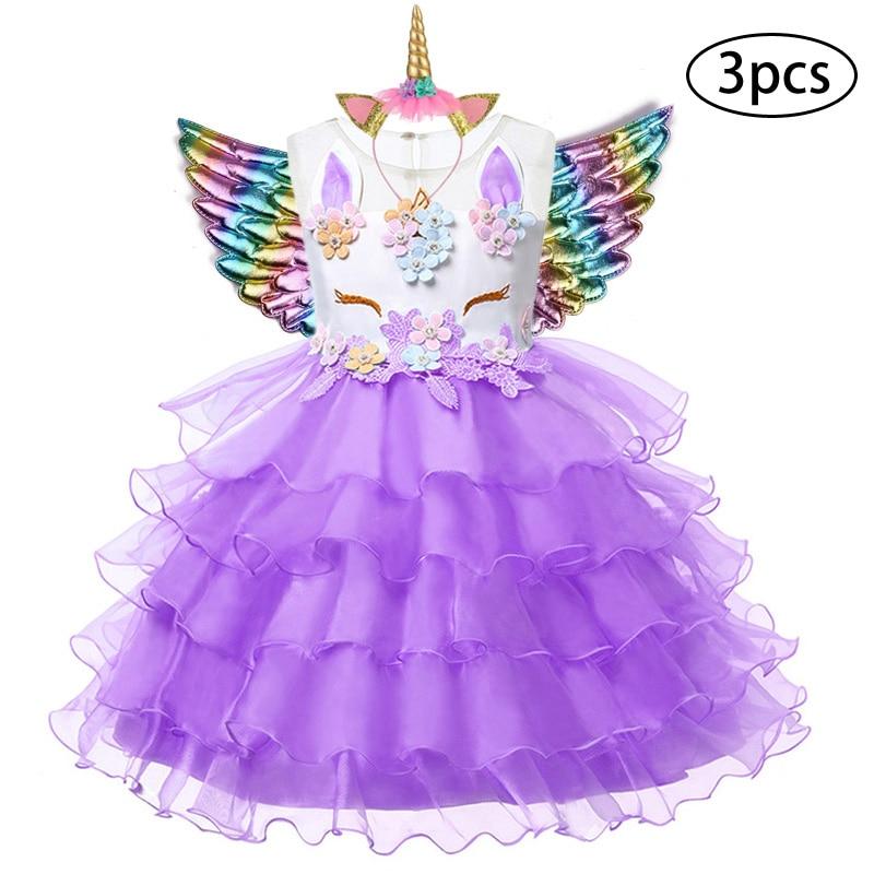 H3e33535bfb8544fb9c9fd96e078e46cab New Girls Dress 3Pcs Kids Dresses For Girl Unicorn Party Dress Christmas Carnival Costume Child Princess Dress 3 5 6 8 9 10 Year