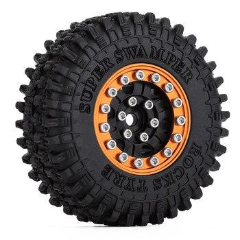 """INJORA 4PCS 52*18mm 1.0"""" Beadlock Wheel Rims Tires Set for 1/24 RC Crawler Car Axial SCX24 90081 AXI00001 AXI00002 Deadbolt 2"""