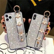 Phone-Case Luxury Wrist-Strap Soft-Cover Bee-Glitter for 12pro MAX 11-7/8plus/Xs-max/..