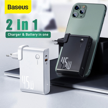 Baseus GaN Power Bank Charger 10000mAh 45W USB C PD Fast Charging 2 in 1 Charger & Battery as One ForiP 11 Pro Laptop ForXiaomi