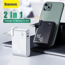 Caricabatterie Baseus GaN Power Bank 10000mAh 45W USB C PD ricarica rapida caricabatterie 2 in 1 e batteria come Laptop ForiP 11 Pro ForXiaomi