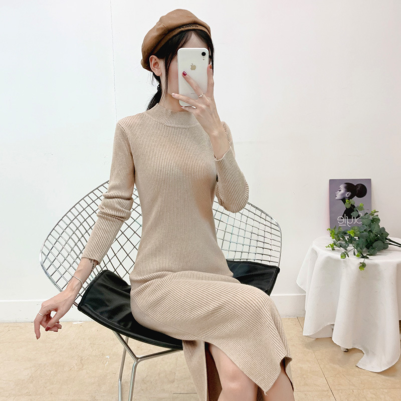 Wool Thick Warm Women Winter Dress Long Slim Rib Knitted Dress Autumn Stand Collar Mid Calf Femme Sweater Dresses Hip Package in Dresses from Women 39 s Clothing