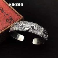 SOQMO Mannen Bangle 100% 925 sterling zilver Etnische Boeddha Lucky dappere troepen Opening armband luxe Merk indian sieraden