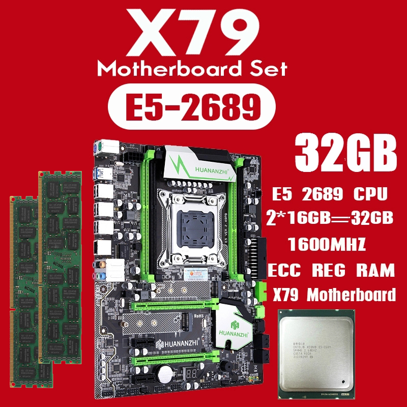 huananzhi X79 motherboard set with Xeon E5 2689 2x16GB=32GB 1600MHz DDR3 ECC REG memory USB3.0 SATA3 PCI E NVME M.2 SSD-in Motherboards from Computer & Office