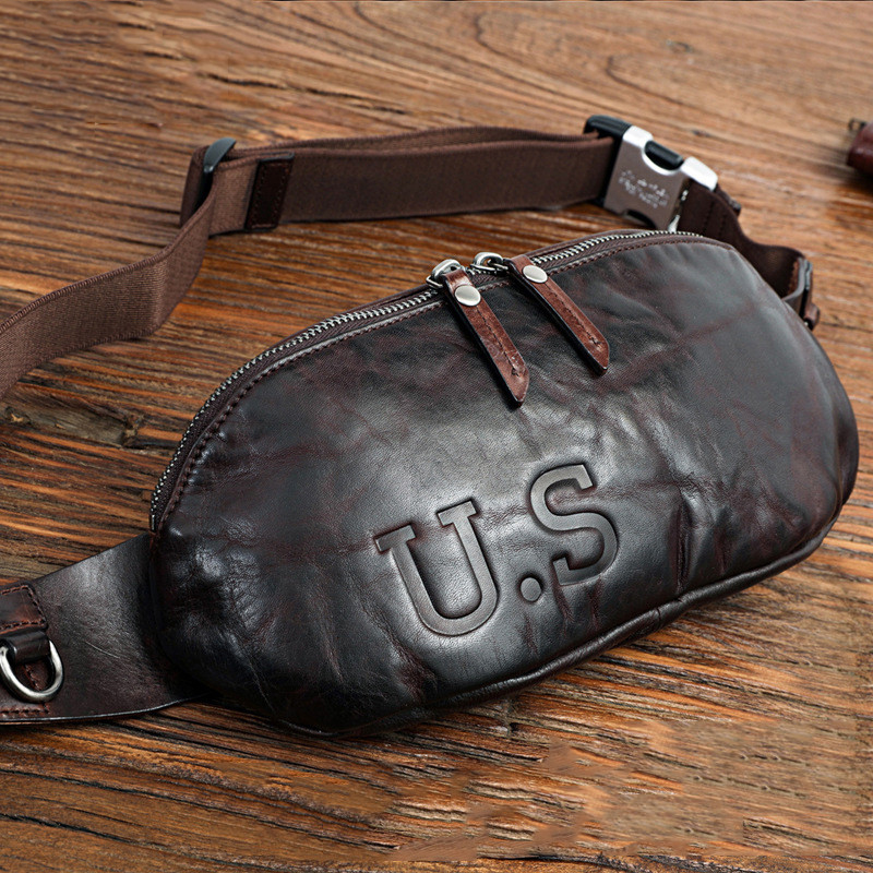 Genuine Leather Waist Bag For Men Male Luxury Brand Cowhide Vintage Casual Small Shoulder Crossbody Bags Travel Chest Bag Pack