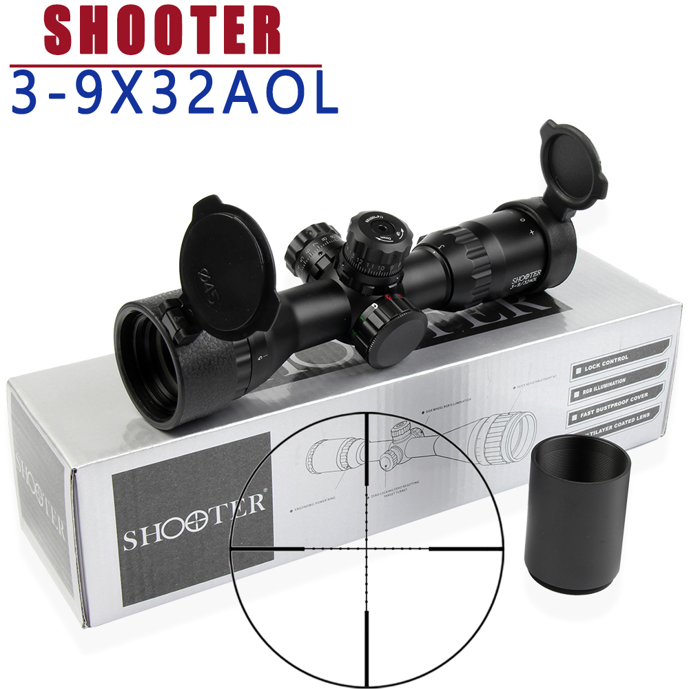 SHOOTER 3-9X32 AOL Short Tactical Riflescope With Blue &Red&Green Lights Mil-dot Optic Sight Hunting Optics For Night Hunting