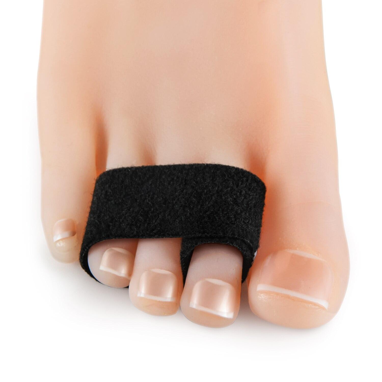 Black Toe Corrector Straightener Wrap Cushioned Bandages Hammer Elastic Toe Separator Splints Tape For Overlapping Toe C1631