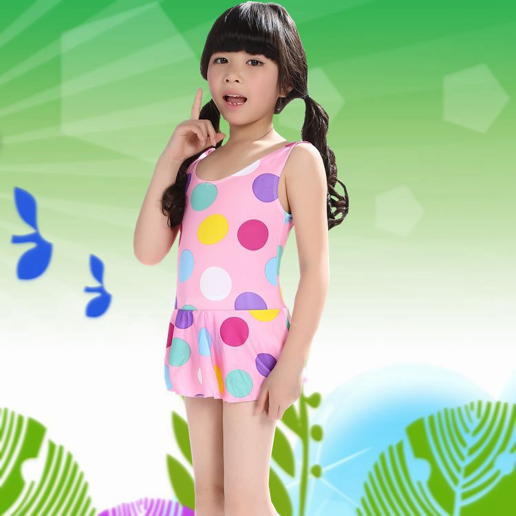 Girl'S One-piece Swimming Suit One-piece Sun-resistant Holiday Tour Bathing Suit Hot Springs Swimwear Suitable 1-6-Year-Old