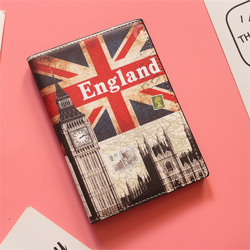 British Flag Weaving Big Ben Travel Passport Holder Cover Wallet PU ID Card Holders Business Credit Card Holder Case Pouch