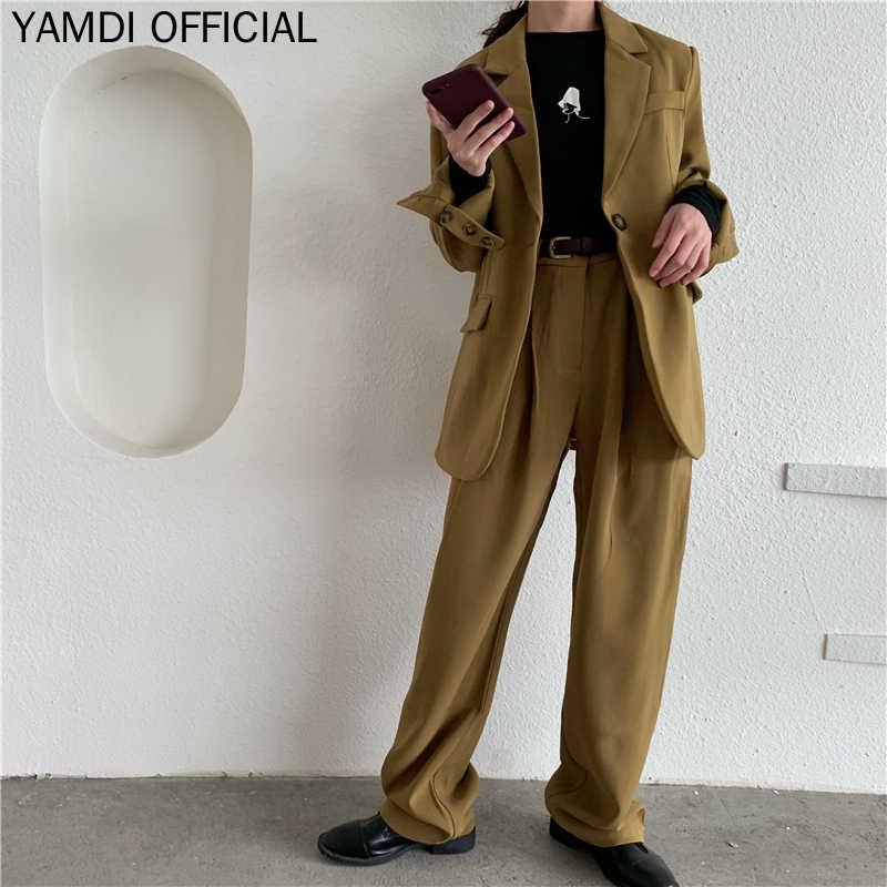 ファッションルースパンツスーツ女性ワンボタンジャケット & ストレートパンツエレガントな女性のズボンスーツ 2019 秋 2 枚セットファム
