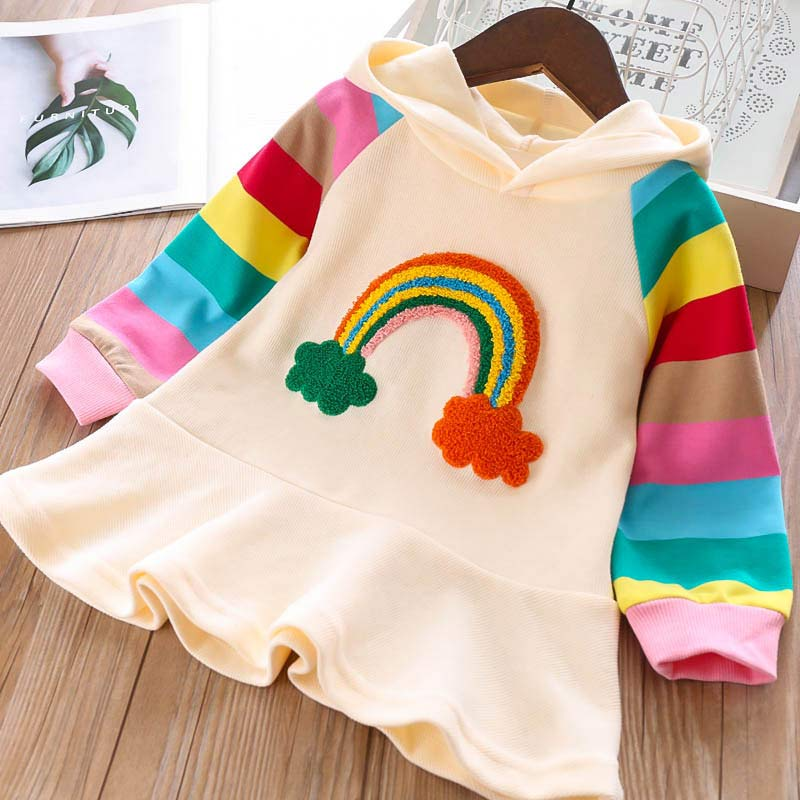 Keelorn Girls Party Dress New Brand Princess Dress Knitted Rainbow Colorful Kids Girl Dresses Sweet Hooded Children Clothing