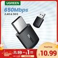UGREEN Wifi адаптер беспроводной адаптер 650 Мбит/с USB WiFi 2,4G & 5G Netowrk карта для ПК компьютера USB WiFi адаптер USB Ethernet WiFi