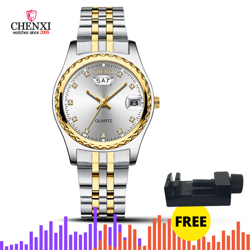 CHENXI Women Luxury Quartz Watches Ladies Golden Stainless Steel Watchband High Quality Casual Waterproof Watch Gift For Wife