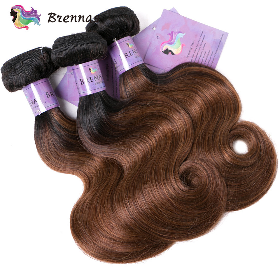 Image 5 - Brennas Body Wave Human Hair Bundles With Closure Ombre 1b30  hair weave with 4*4 lace closure Brazilian non Remy Hair low Ratio3/4 Bundles with Closure   -