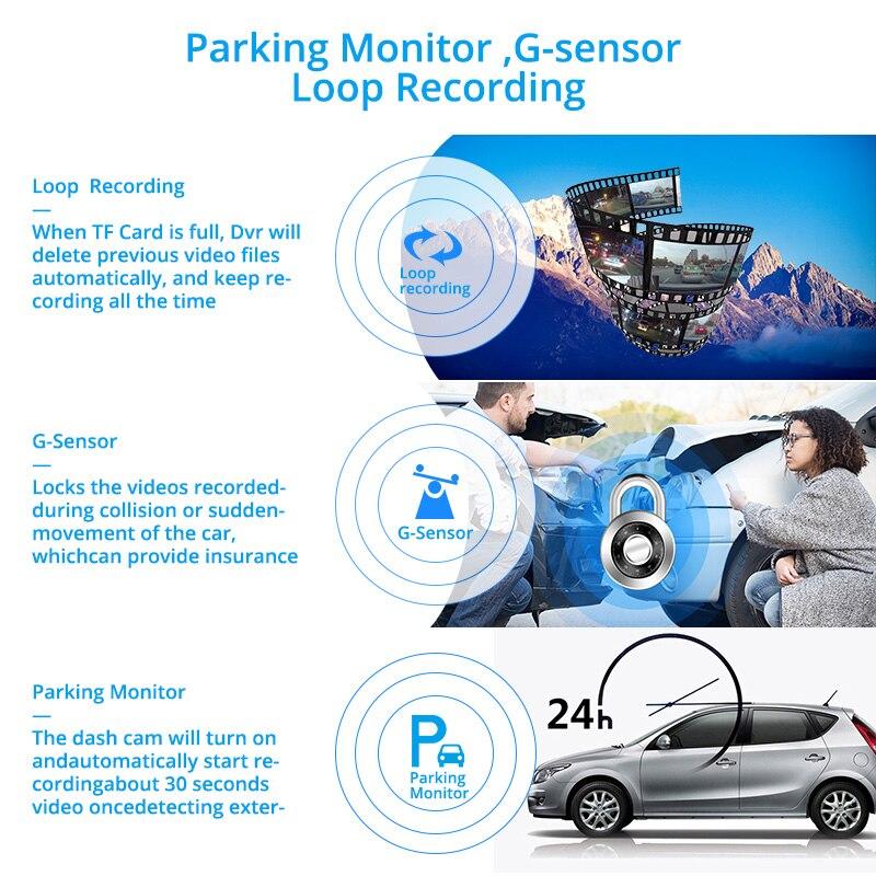 Автомобильный видеорегистратор E-ACE 4,0 дюйма, 3 камеры, Автомобильный регистратор FHD 1080P, видеорегистратор с камерой заднего вида, видеорегист...