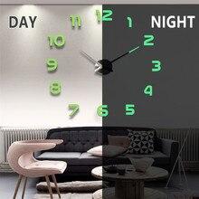 Horloge murale à effet miroir 3D, grand nombre d'autocollants en acrylique, auto-adhésives, décoration du salon et de la maison, montre lumineuse