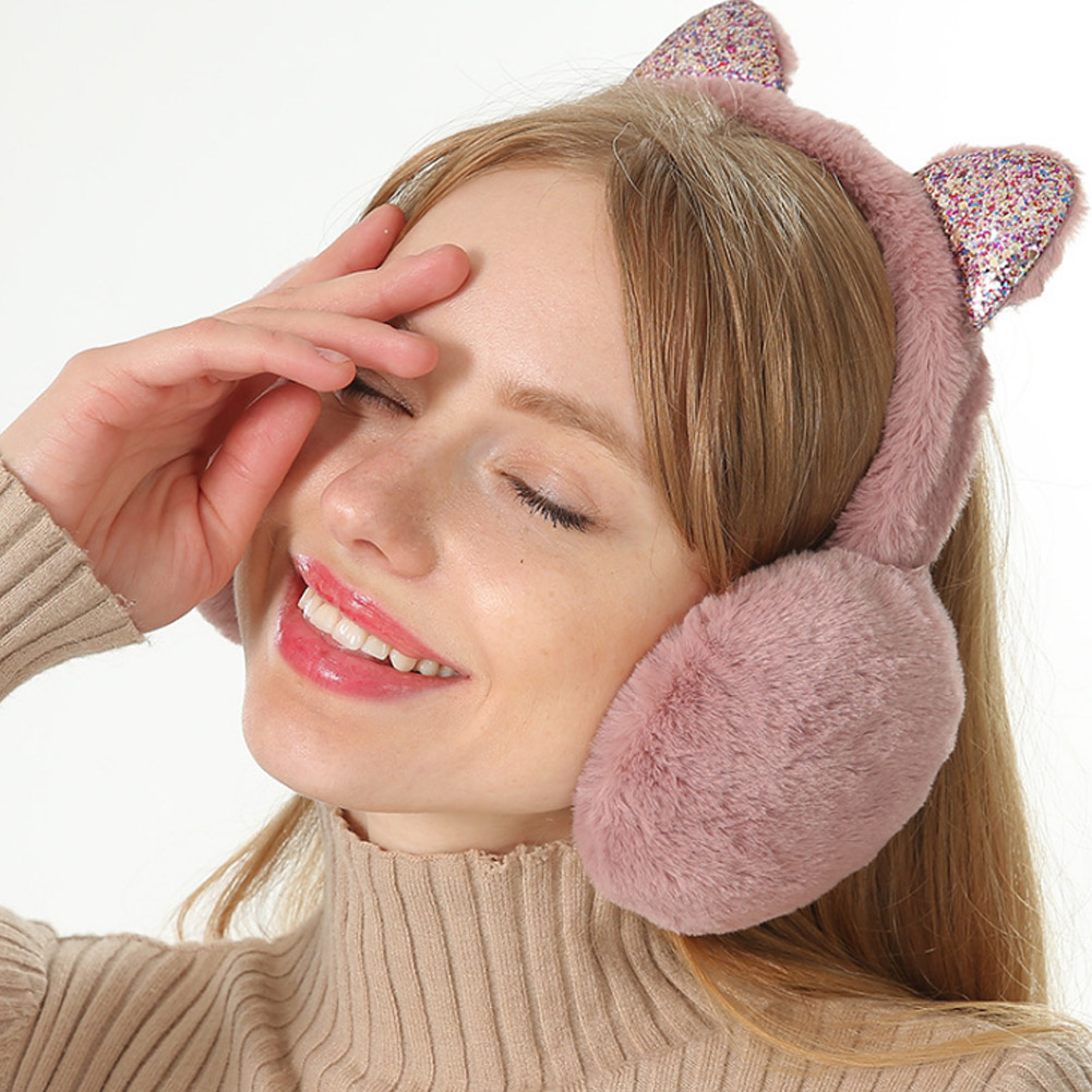 Women Earmuffs Cartoon Cat Ears Windproof Ears Warm Adjustable Earmuffs XRQ88