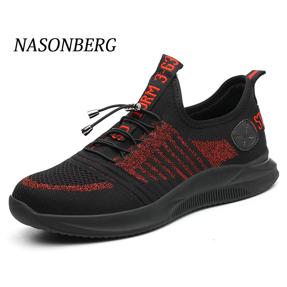 NASONBERG Men Steel Safety Work Shoes Grid Lightweight Breathable Casual Sneaker Prevent piercing Protective Boots in Work Safety Boots from Shoes