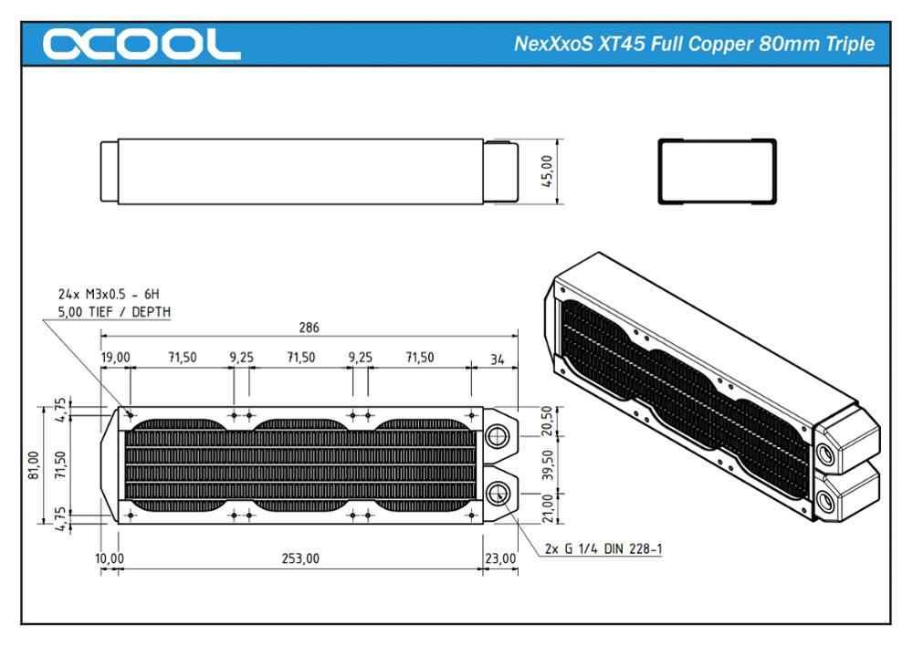 Originale di Alta Qualità Alphacool NexXxoS XT45 3*80mm 240 millimetri di Rame di Raffreddamento Ad Acqua Radiatore di raffreddamento Del Computer Cooler Master 8 fan otto centimetri
