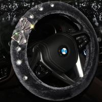 Soft Plush Car Steering Wheel Cover Diamond Winter Auto Car Steering Wheel Covers Styling Interior Decoration Accessories
