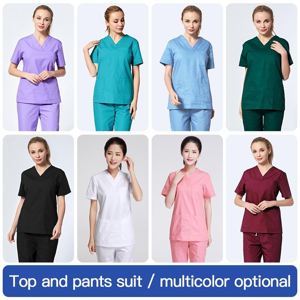 Hospital Doctor Nurse Short-sleeved Medical Uniform Tops/Suits Dental Clinic Beauty Salon Workwear Overalls Clothes Spa Uniform