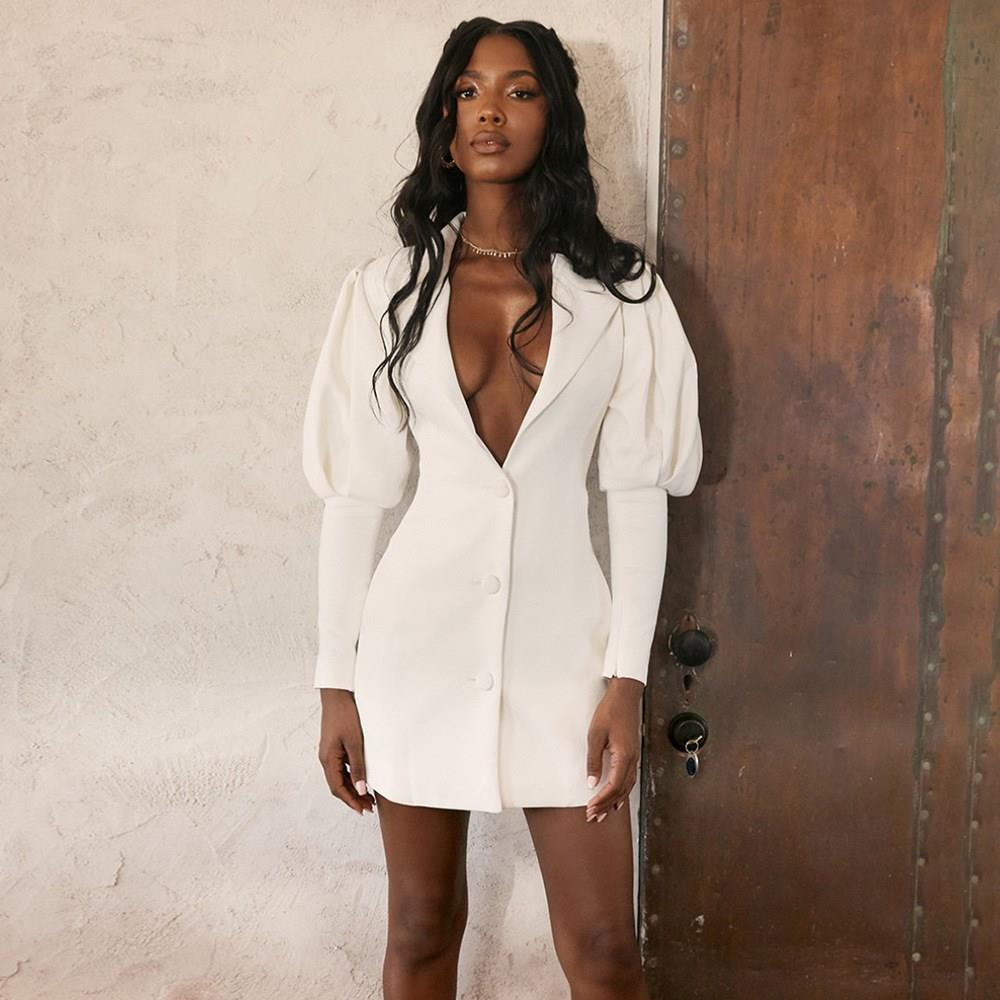 Autumn Single Breasted Sexy Blazer Women Lantern Sleeve White Notched Coat Button 2019 Lapel Casual Ladies Jacket Tops