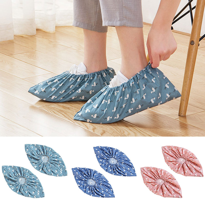 Washed Cloth Shoes Cover Thick Wear-resistant Foot Covers Men Women Indoor Dust Foot Cover Cartoon Print Shoe Protector Unisex