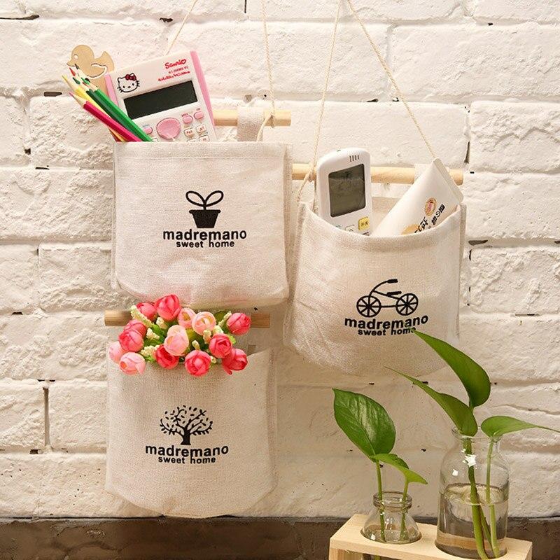 1PCS Cute wall line cotton sundries cotton linen storage bag makeup rack jewelry storage basket storage bag