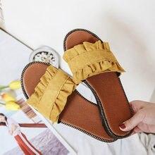 Novo verão feminino chinelos peep toe sólido ao ar livre plissado senhoras sapatos de moda plana doce confortável calçados femininos